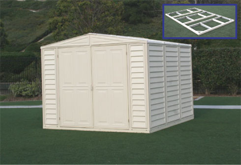 8 x 5.25 Duramate Vinyl Shed With Foundation Kit & Skylight